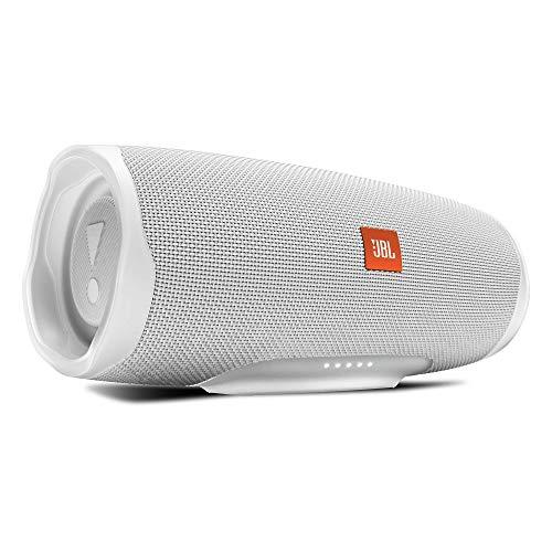 JBL Charge 4 Bluetooth-Lautsprecher - Wasserfeste, portable Boombox mit integrierter Powerbank - Mit nur einer Akku-Ladung bis zu 20 Stunden kabellos Musik streamen Weiß