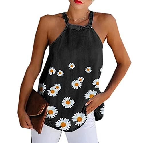 Mujeres Summer Daisy Tank Halter Cuello Sexy Chaleco Camisola Larga Sin Mangas Estampado De Girasol Denim Mujer Blusa Tops Camisetas