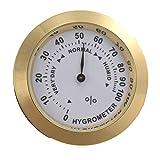 Higrómetro de latón Analizador de humedad del tabaco para cigarros y lente de vidrio para humidores Indicador sensible a la humedad para fumar - Oro