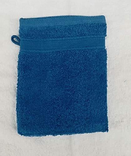 Lot de 10 Gants de Toilette Éponge 600gr/m² Coton - 20x15cm - Gants de Toilette - Bleu/Blue