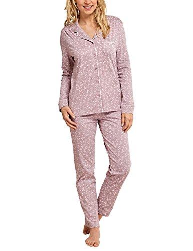 Schiesser Damen Original Classics Pyjama lang Zweiteiliger Schlafanzug, Braun (Havanna 305), 46 (Herstellergröße: 046)