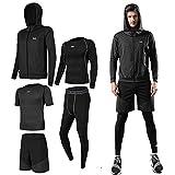 Lachi Mens Gym Running Clothes 5Pcs Set Compression Gym Wear Fitness Clothing Set Gray, XL