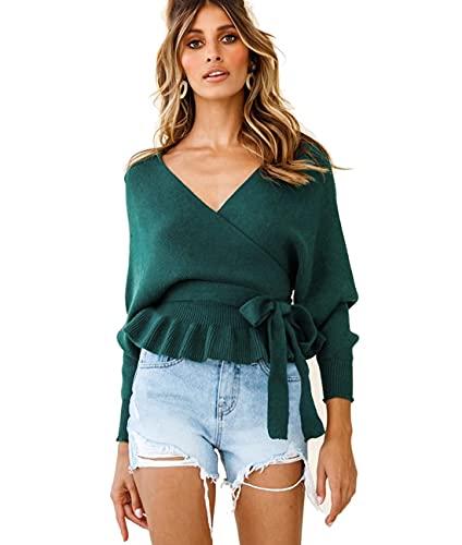 De Las Mujeres Cuello en V Suéter Jersey Sexy Blusa con Volantes Manga Larga Abullonada Top Cruzado con Cintura Anudada