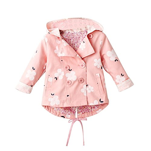 G-Kids Baby Mädchen Jacke Übergangsjacke Gedruckt Kapuzenjacke Kinder Prinzessin Frühling Herbst Outwear Rosa 110