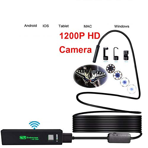 1200P 8LED Endoskope WiFi Fiber Optic Kamera Endoskop USB, 8Mm drahtlose Endoscope IP68 wasserdicht Rohr-Inspektionskamera Geeignet für Apple Android,2metershardline