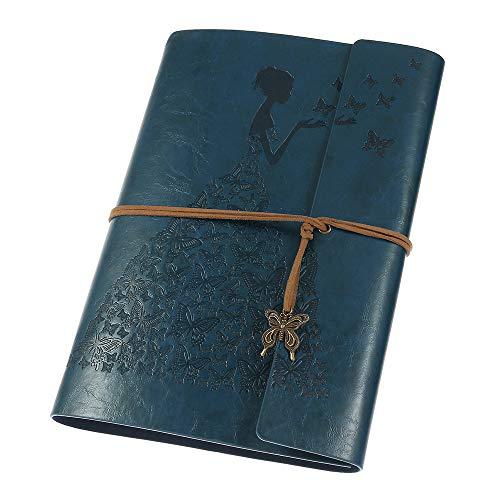 MaleDen Notizbuch Tagebuch aus Leder, Vintage-Spiralbindung, Skizzenbuch, nachfüllbar, Reisetagebuch mit blanko Seiten, Geschenke für Damen und Mädchen A5 dunkelblau