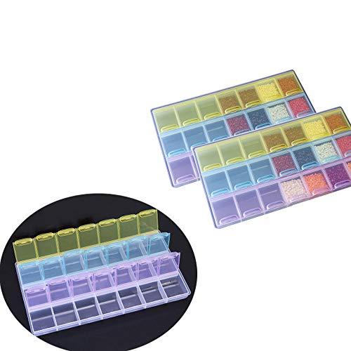 3 Piezas 21 Compartimientos Caja Accesorios Diamond Organizadores, para DIY, Joyas, Bricolaje, Manualidades, Uñas, Tiny Accessories Contenedor Case, Cajas de Uñas de Arte Accesorios Organizador