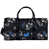 Bolsa de deporte para gimnasio, para videojuegos, color azul sobre negro, bolsa de yoga, bolsa de hombro, bolsa de viaje para hombres y mujeres