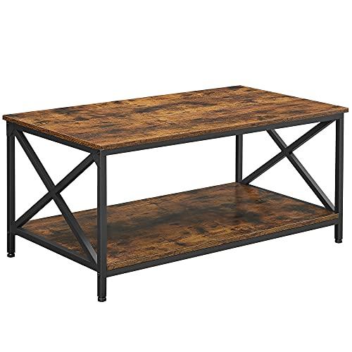VASAGLE Mesa de centro, Mesa de café con marco de acero en forma de X y estante de almacenamiento, 100 x 55 x 45 cm, Estilo industrial, Marrón Rústico y Negro LCT200B01