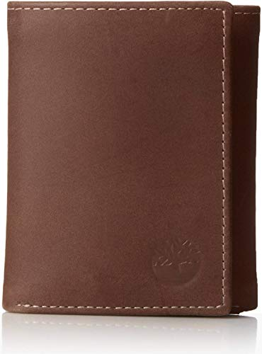 Timberland Mens Leather Trifold Wallet With ID Window, Cognac (Exclusive), One Size