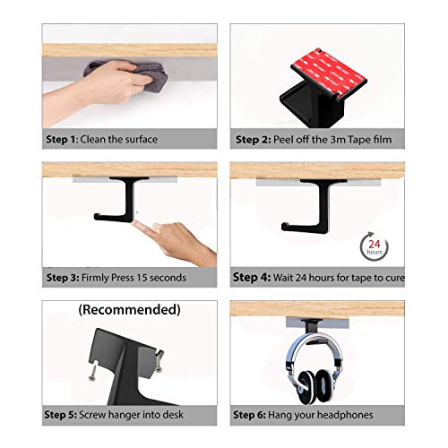 Headphone Hanger -Under The Desk Headphone Stand/Mount - 3M Tape - Sturdy Rubber Feel - Great for School/Business Zoom Meetings