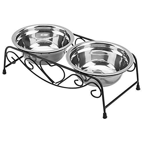 Erhöhter Futternapf aus Edelstahl mit Doppel-Futter- und Wasser-Futternapf für Hunde und Katzen, Retro-Design, mit erhöhtem Ständer, Größe M
