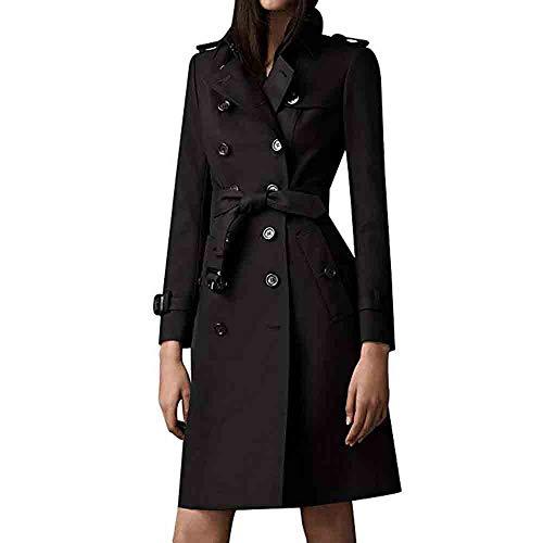 iHENGH Damen Winter Jacke Warm Bequem Parka Mantel Lässig Mode Frauen Slim Revers Zweireiher SlimLong Trenchcoat(Schwarz,M)