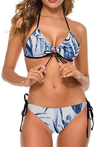 my cat Bikini 2-teiliges Set/umweltfreundliches Badebekleidungs-Geschenkset Bikini - Dreieck-Set Weißer Punkt Koralle Orange Tropische Pflanze-Schwarz10-Klein