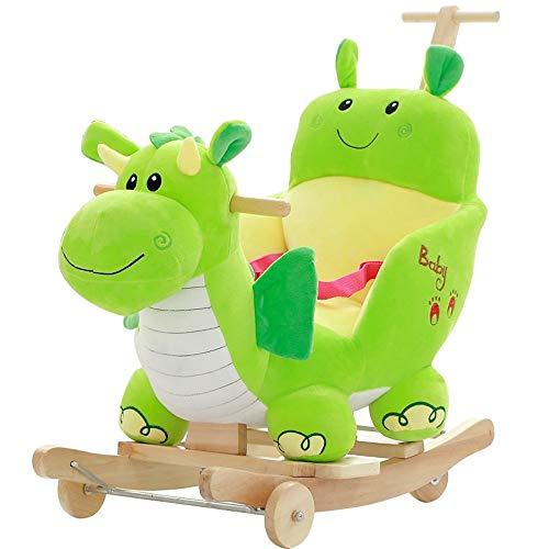ZhaoXH-Schaukelpferd Baby Schaukel Drache Plüsch Holz Schaukelpferd Spielzeug Schaukelstuhl Kind Schaukeltier mit Drehbaren Rädern und Putter für Baby 1-3 Jahre