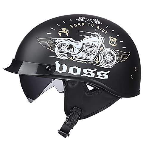 Jankr Retro MotorradHelm Halbschalenhelm, Sommer Unisex Motorrad Scooter Halbhelm mit eingebaute GläserECE-Zertifizierung Mofa Motorrad-Helm Chopper Scooter-Helm C L