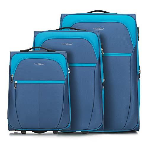 WITTCHEN Koffer – Set of 3 | Textil, material: polyester | hochwertiger und stabiler | Blue | verschiedene Größen
