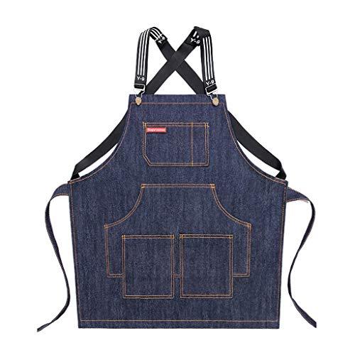 EWRT Delantal de cocina de algodón con espalda cruzada, ajustable, con bolsillos para mujeres y hombres, delantal de cocina, babero, correa ajustable y bolsillos grandes