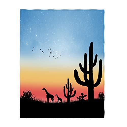 QH Nightfall amp Giraffe Throw Blanket Super Soft Lightweight Blanket for All Seasons 60 x 80 Inch