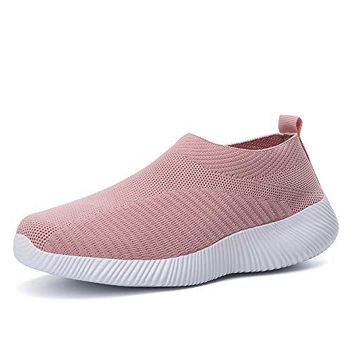 SMGPY Primavera Y Otoño Tallas Grandes Zapatos Ligeros De Punto Voladores para Mujer Cubierta De Boca Baja Calcetines con Un Pedal Zapatos Transpirables Zapatos Deportivos Casuales,Rosado,37