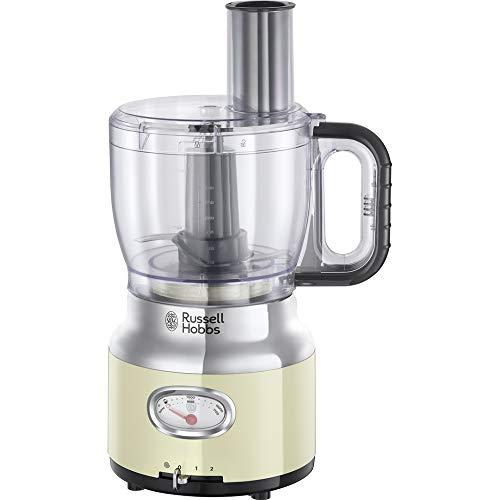 Russell Hobbs 25182-56 Robot da Cucina Retro, Dettagli in acciaio, Contenitore Tritatutto da 2.3L, 850 Watt, 2 velocità e funzione Pulse, Parti lavabili, BPA free, Crema