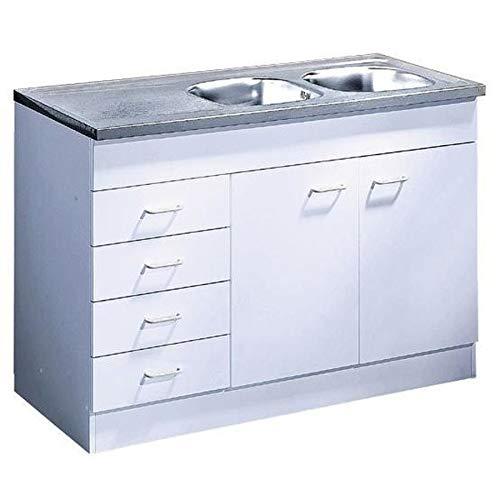 Küche-Spülenschrank/ Mehrzweckschrank 120x60 Schubkästen Start Melamin weiß/weiß