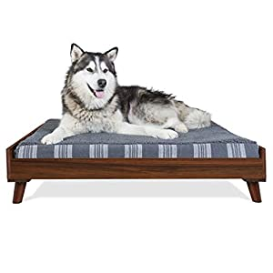 Furhaven Pet Dog Bed Frame – Mid-Century Modern Style Bed Frame Furniture for Pet Beds and Mattresses, Walnut, Jumbo