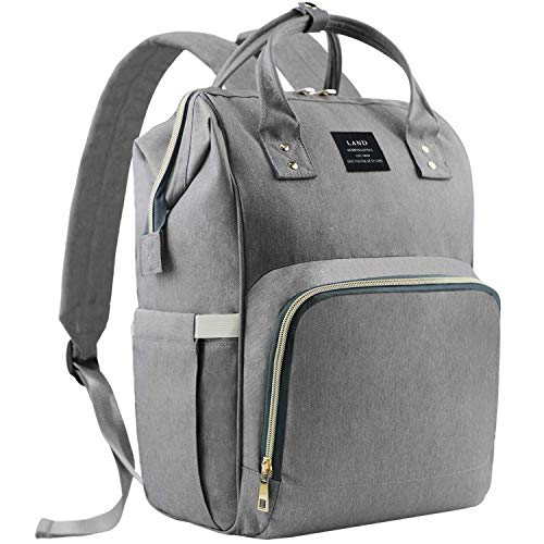 EZGO Land Baby Diaper Changing Bag, Mom Dad Backpack Rucksack, Hospital Maternity Bags, Large Capacity & Wide Open Design & Waterproof & Keep Warming - Girl & Boy (Dark Gray)