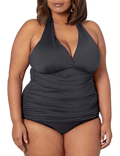 La Blanca Women's Island Goddess Rouched Front Halter Tankini Swimsuit Top, Black, 36 DD