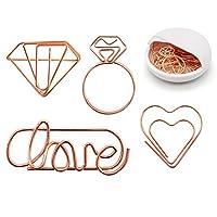 かわいいペーパークリップ - 20ピース:5つの愛 + 5つのハート+ 5つのダイヤモンドリング+ 5つの面白いしおりマーキングクリップ オフィス/学校/結婚式/パーティーの招待状 バレンタイン装飾に - アソートの小さなプランナーペーパークリップ
