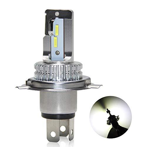 Oppulite Bombilla H4 Led para Faro de Moto , 6400LM 6500K 12V / 24V Blanco,H4/HS1/HB2/P43T/9003 Bombilla de Conversión Universal,1 Lámpara Led