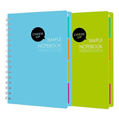 Cheer Up Spiralheft, B5, College, liniert mit Trennwänden, 240 Seiten, 2 Stück (blau + grün)