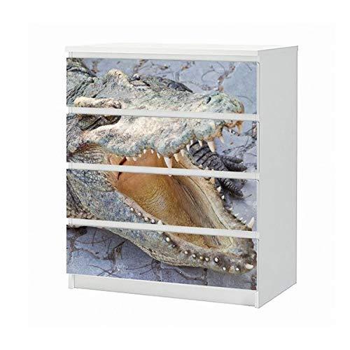 Set Möbelaufkleber für Ikea Kommode MALM 4 Fächer/Schubladen Krokodil Alligator Tier Zähne Zahn Maul Aufkleber Möbelfolie sticker (Ohne Möbel) Folie 25B1341