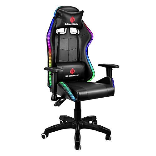 Boomersun Gaming Stuhl Racing Stuhl, Ergonomischer Bürostuhl Stuhl, Drehstuhl Racer Gamer Stuhl PC Stuhl, mit Wippfunktion, Einstellbarer Neigungswinkel, Einstellbare Armlehne (Schwarz, Mit LED-Licht)
