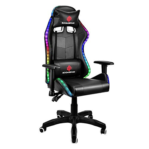 Boomersun Gaming Chair with RGB Light Ergonomic Office Chair Racing Style Backrest and Seat Height Adjustable 3D Armrests Swivel Computer Chair Video Game Chair with Headrest and Lumbar Support