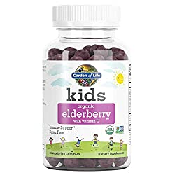 Garden of Life Kids Organic Elderberry with Vitamin C Gummies for Kids Immune Support, Sugar Free, N