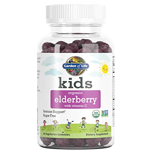 Garden of Life Kids Organic Elderberry with Vitamin C Gummies for Kids Immune Support, Sugar Free, Non-GMO Sambucus Elderberry Plus Vitamin C Gummy Vitamins for Children, 60 Vegetarian Gummies
