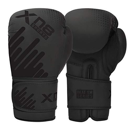 Xn8 Sports Boxhandschuhe aus Rex-Leder, Muay Thai, MMA, Sparring, Kickboxen, Trainingshandschuhe (rot, 340 g)