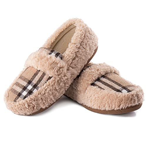 ZIZOR Women's Memory Foam Cozy Fuzzy Fleece Comfy Slippers, Ladies Indoor or Outdoor House Shoes