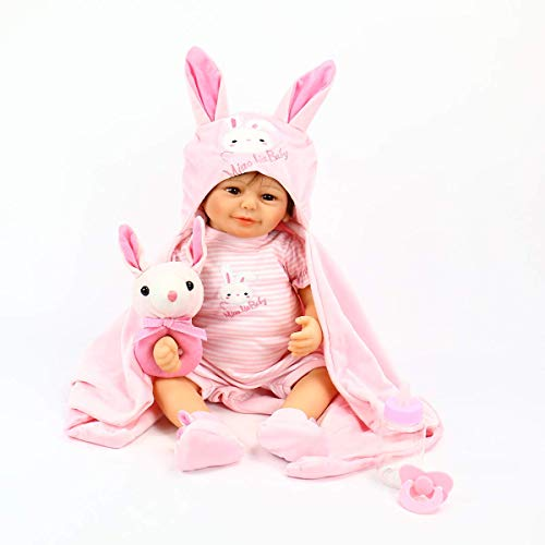 20 inch Rare Alive Soft Silicone Vinyl Adorable Smiling Reborn Baby Girl Dolls Look Real by Wamdoll