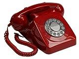 GPO 746 Teléfono fijo de botones con estilo retro de los años 70 - Cable en espiral, timbre auténtico - Rojo