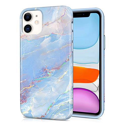 CAOUME Compatible with iPhone 11 Case (2019 Release) Holographic Blue Marble Design Sparkly Glitter Protective Stylish Cases for Apple Phone(6.1