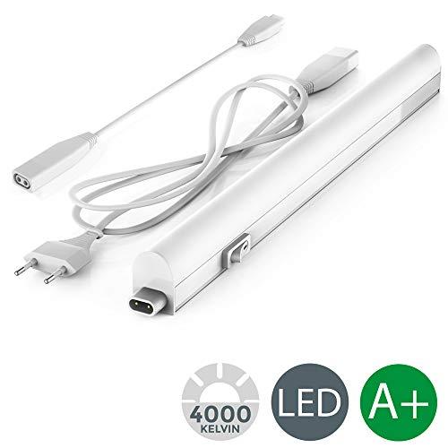 Lampada sottopensile cucina LED, luce bianca naturale 4000K, LED integrati  da 4W, lunghezza 31cm, interruttore on off, plastica, lampada moderna ...