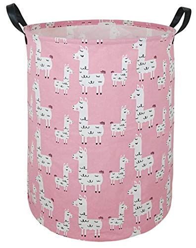 ACMUUNI 19.7″ Round Canvas Large Clothes Basket Laundry Hamper with Handles,Waterproof Cotton Storage Organizer Perfect for Kids Boys Girls Toys Room, Bedroom, Nursery,Home,Gift Basket(alpaca)
