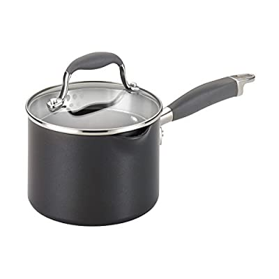 Anolon Advanced Hard Anodized Nonstick Sauce Pan/Saucepan with Straining and Lid, 2 Quart, Dark Gray