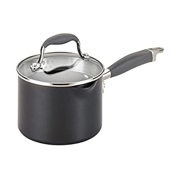 Anolon Advanced Hard Anodized Nonstick Sauce Pan/Saucepan with Straining and Lid 2 Quart Dark Gray