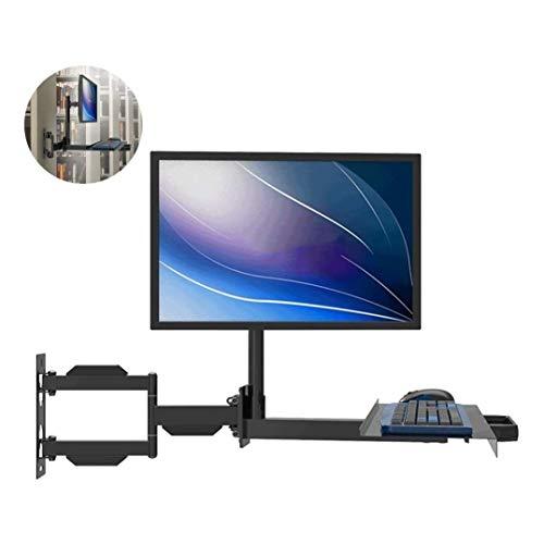 LIUCHUNYANSH Bandeja Teclado PC Monitor del Soporte del Brazo con el Teclado y el ratón Bandeja textuales, ergonómicos Pantallas de Ordenador Soporte Ajustable, 360 ° de rotación telescópica
