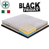 Black Friday - Materasso Singolo Memory Foam Ondulato SFODERABILE a 3 Strati e 7 Zone Differenziate 5cm Memory - Anatomico - Antibatterico - Antiacaro - 100% Made in Italy 80x200