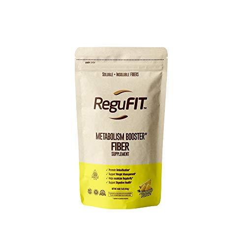 ReguFIT - Metabolism Booster Supplement Powder, Soluble and Insoluble High Fiber Detox – Improves Digestive Health, Helps Maintain Regularity – Non-GMO - Natural Pineapple Flavor, 30 Servings (1 lb.)