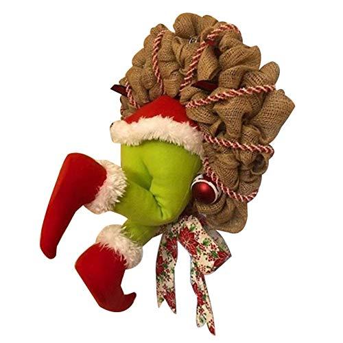 Starall Grinch Kranz, Weihnachtsgirlande, Wie der Grinch Weihnachten Sackleinen Kranz Dekorationen Super Süße und Schöne Tolle Geschenke für Freunde Girlande Kranz Weihnachten Gestohlen